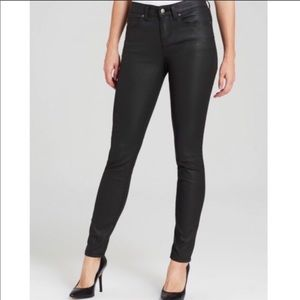 Eileen Fisher wax coated black skinny jeans, sz 8